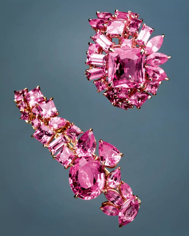 From top: Gem Dior by Dior Joaillerie Rose Bonbon pink sapphire ring and Rose Magenta pink sapphire ring, both POA