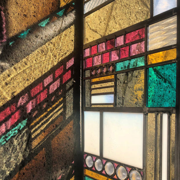"A ""patchwork"" window in stained glass by Annahita Hessami"