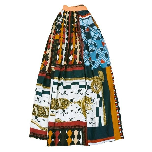 Her skirt by Japanese label Kolor