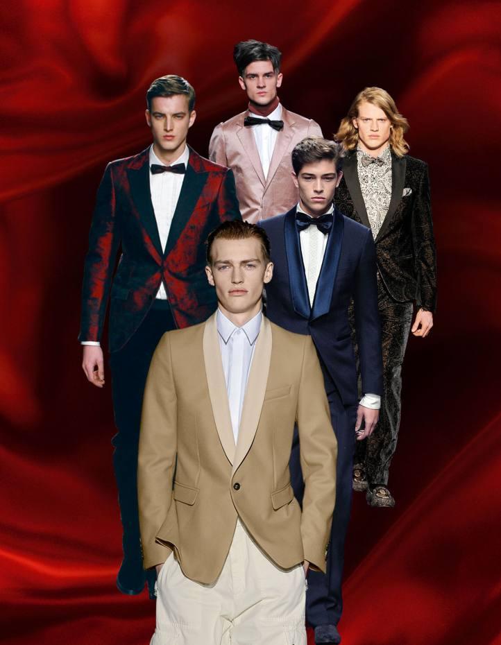 Clockwise from far top left: Ermenegildo Zegna satin jacket, £1,610. Lanvin silk jacket, £1,790. Etro velvet jacket, £810. Roberto Cavalli silk suit, £2,365. Dries Van Noten wool jacket, £540.