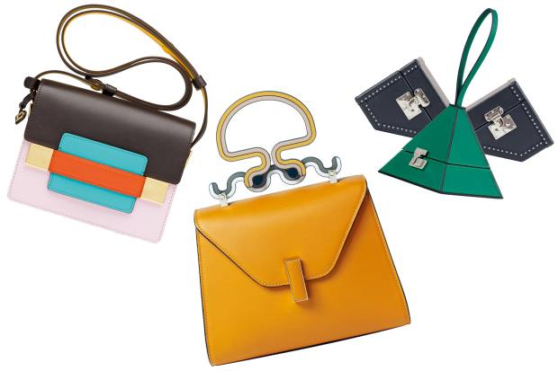 From left: Delvaux calfskin Madame Mini shoulder bag, £2,150. Valextra calfskin Iside bag, £2,750. Moynat leathermini trunks, from£3,500, and leather pyramid handbag, from £3,460