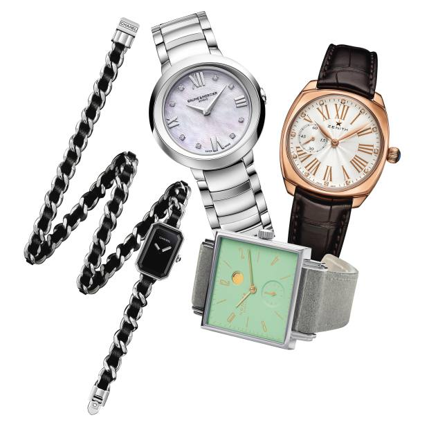 Chanel stainless-steel Première Rock, £3,350. Baume & Mercier stainless-steel, diamond and mother-of-pearl Promesse, £1,900. Nomos Glashütte stainless-steel and lacquer Tetra Berlin Kleene, £1,850. Zenith rose-gold Star, £7,300