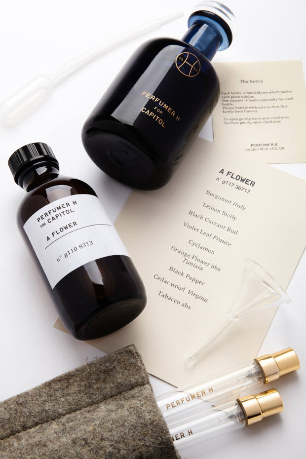 A Flower by Lyn Harris, $695, is presented as a fragrance set – the scent, which comes in an artisanal bottle, is complemented by a travel-size factory bottle, two pocketbook-sized atomisers in a felt case, a miniature funnel and a pipette dropper