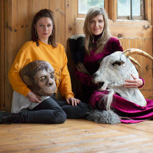 Alex Merry and Martha Fiennes in Stroud, Gloucestershire, with some of Merry's beasts