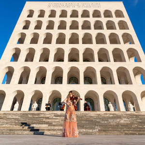 Violinist Anna Tifu in Fendi couture at the brand's Rome headquarters