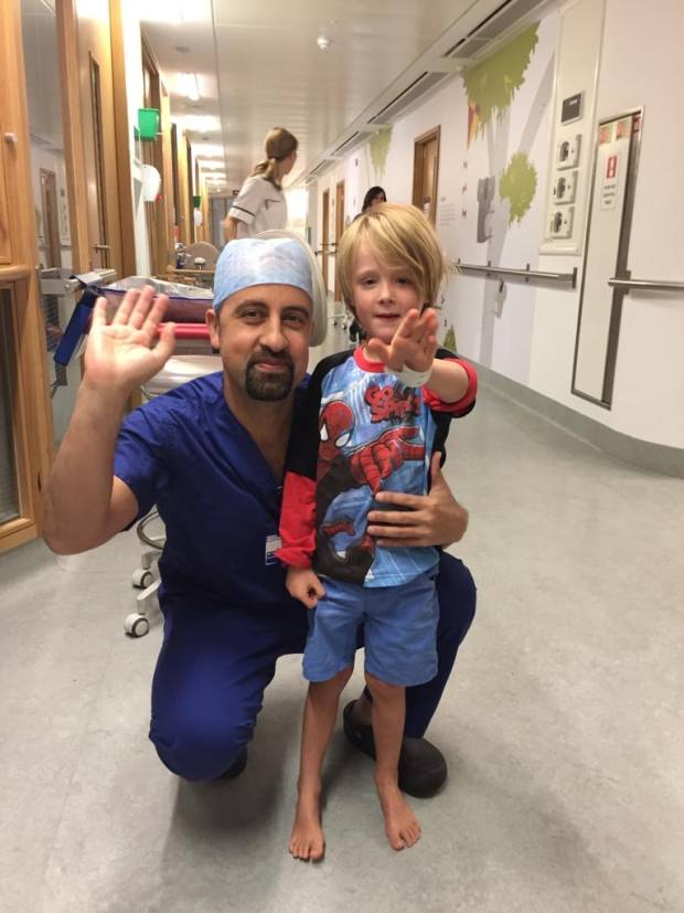 Jeelani with Alfie, five days after his surgery in October 2016