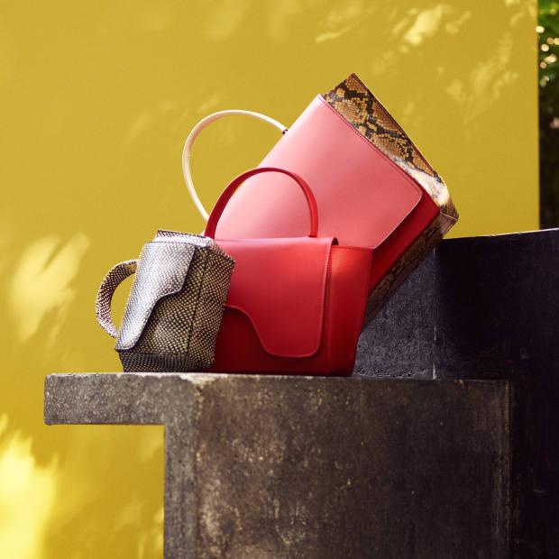 From left: Montalcino mini handbag, £395, Arezzo handbag, £400, and Volterra handbag, £540