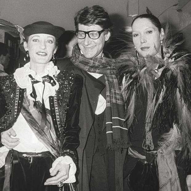 Yves Saint Laurent with, from left, Pierre Bergé, Loulou de la Falaise and Marina Schiano in 1979
