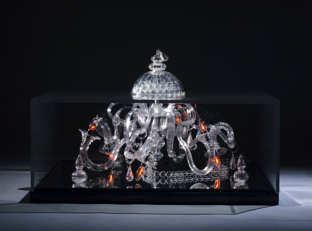 The limited-edition Médusa, €19,300, by Russian designer Liana Yaroslavsky, incorporates a Murano crystal chandelier by Archimede Seguso.