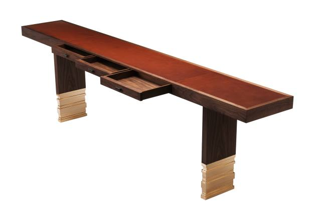 Amy Somerville bronze, American black walnut and leather Staccato console, £14,490