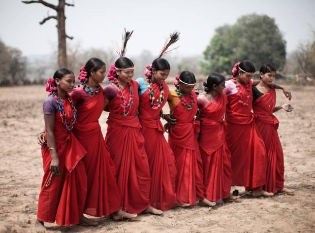 Women in the Bharripara tribe performing a Deer Horn dance