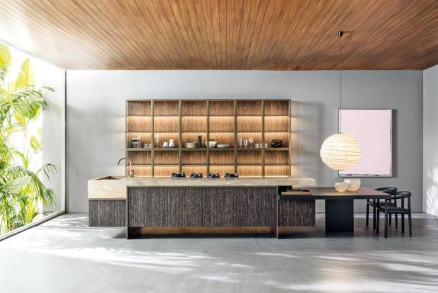 Designed by Belgian architect Vincent Van Duysen, Molteni & C   Dada's new Ratio kitchen, from £60,000, combines stones like Rapalano travertine with woods such as black palm