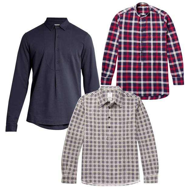 Clockwise from left: Sørensen cotton shirt, £150. Barena cotton twill shirt, £120. Visvim cotton flannel shirt, £640