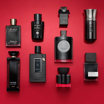 """Clockwise from top far left: Juliette has a Gun Into the Void, £240 for 75ml EDP, from selfridges.com: """"Black orchids and a crafty nip ofliquorice"""". Acqua di Parma Leather, £197 for 100ml EDP: """"Asmokythrill"""". Alex Simone En Terrasse, €149 for 100ml EDP: """"The perfect sundowner"""". Liquides Imaginaires Beauté du Diable, £230 for 100ml EDP, from lessenteurs.com: """"A wicked cocktail of gin and absinthe"""". MiN New York Moon Dust, £220 for 75ml EDP: """"Flinty, earthy, anchored by smooth black musk"""". Nars Audacious Fragrance, €145 for 50ml EDT: """"Heady tiare flower blended with incense"""". Van Cleef & Arpels Rêve d'Ylang, £260 for 125ml EDP, from harrods.com: """"The sensuality of ylang ylang ramped up with patchouli and vanilla"""". Lalique Elégance Animale 1989, €240 for 100ml EDP: """"Purring, woody... faintly wild-catty"""". Centre: Atkinsons Tulipe Noire, £130 for 100ml EDP, from harveynichols.com: """"Tuberose partnered with sandalwood and musk."""""""