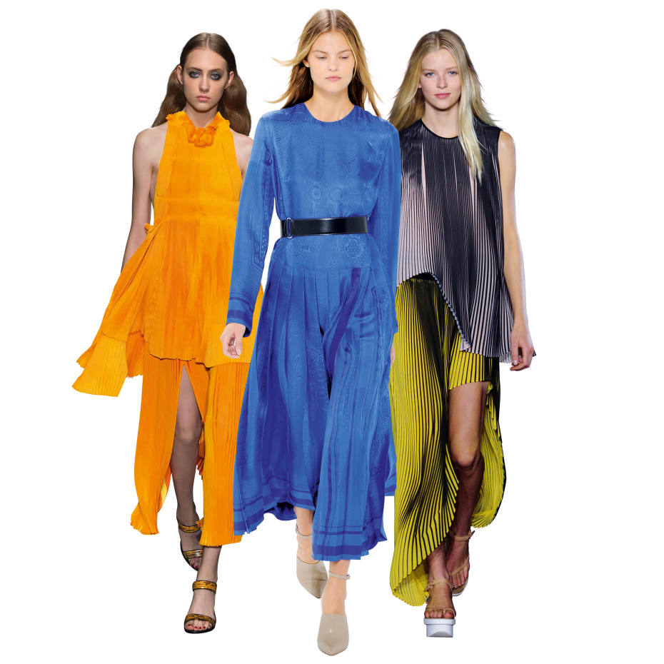 From far left: Sonia Rykiel viscose Sunflower Pleats knit top, £1,520, and matching viscose-mix skirt, £795. Hèrmes silk-jacquard Bandana dress, £5,680. Stella McCartney polyester-georgette skirt, £895, and matching top, £725