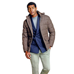 Thom Sweeney cashmere crew neck jumper (£575), wool/cashmere jacket (£1,375), down-filled wool puffa jacket (£1,750) and cotton pleated peg chinos (£395)