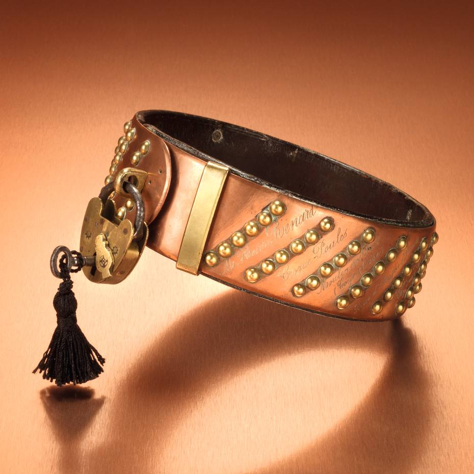 c1880 brass and leather collar with original padlock and key, £850, from Maison Dog