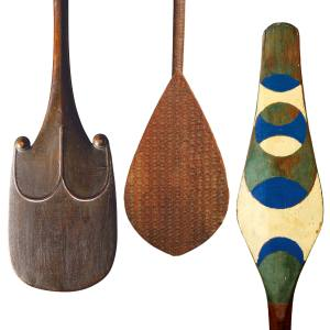 From left: c19th-century Easter Island rapa, pair sold for €3.88m at Sotheby's Paris. Austral Island paddle, €18,000 at Gallery Jean-Baptiste Bacquart. 19th-century Duala paddle, sold for €325 at Zemanek-Münster