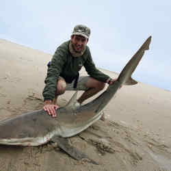 The 6ft 7in Jack Dyson with his prized 80kg-100kg bronze whaler shark.