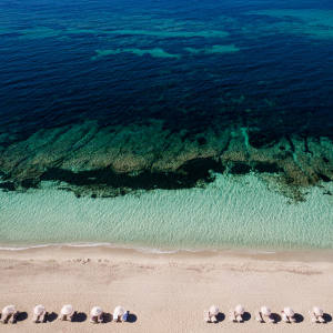 The beachfront at Gecko Hotel & Beach Club on the Spanish island of Formentera