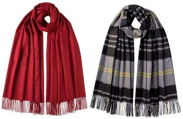 Johnstons of Elgin classic cashmere stole and Hessian Dress Stewart stole, both £379