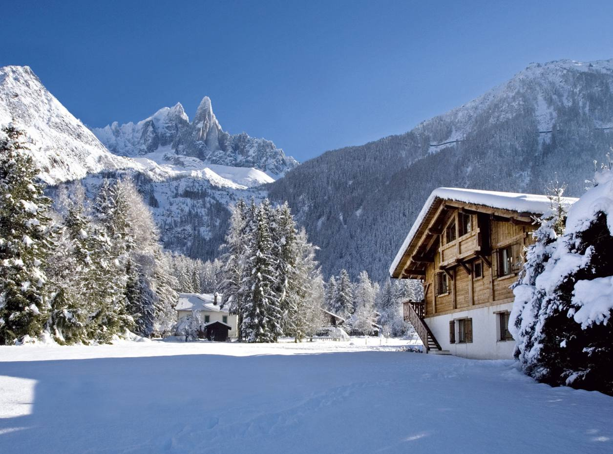 Chalet Lumiere enjoys a spectacular position in the Chamonix Valley, with the Mont Blanc Massif in the background, through World of Indulgence.