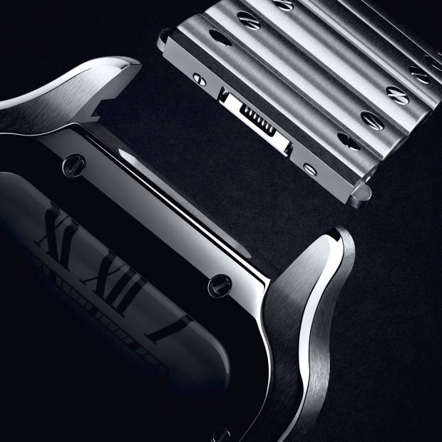 The Santos de Cartier's QuickSwitch strap-and-bracelet system