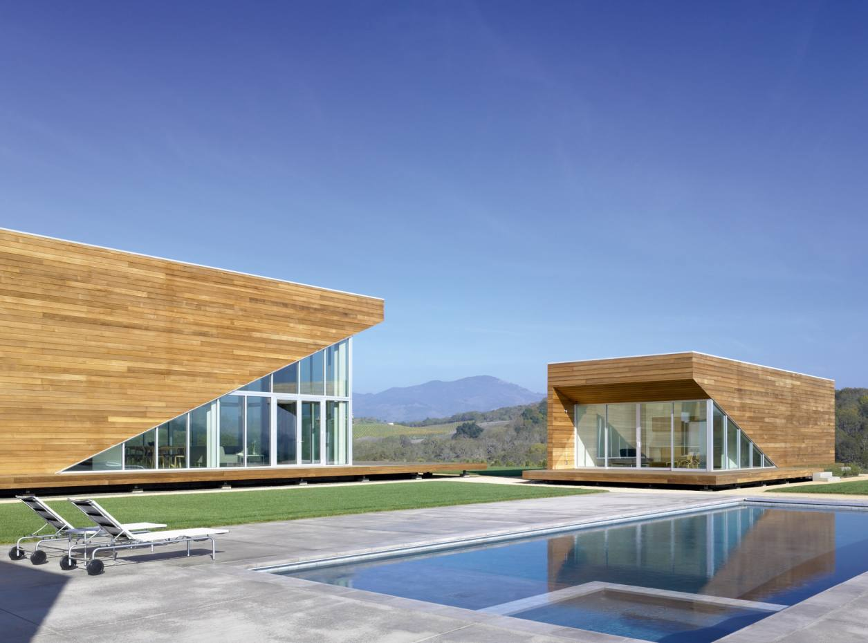 Summerhill House and its guest building in Kenwood, California, designed by Edmonds + Lee Architects