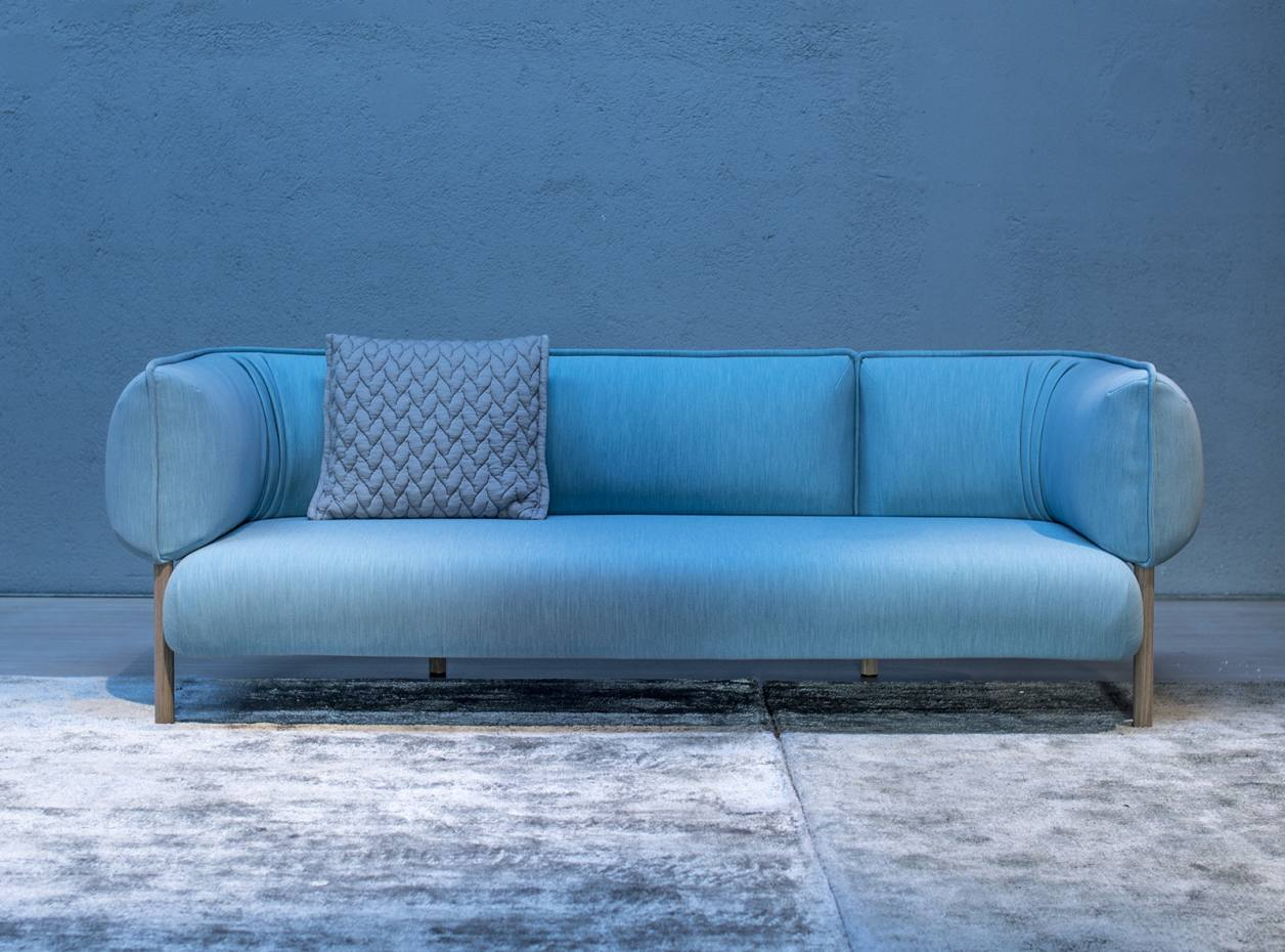 Patricia Urquiola for Moroso wool-jersey, wood and aluminium Love Me Tender sofa, from £4,980
