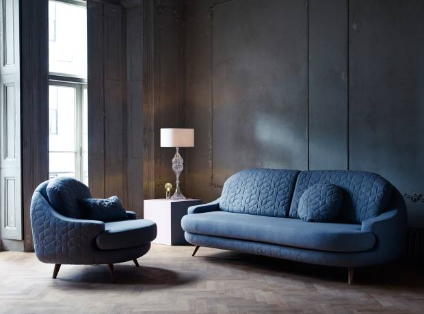 Lee Broom oak and wool Quilt armchair, £2,595, and sofa, £3,695