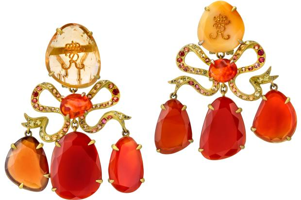 Lydia Courteille La Chambre d'Ambre earrings with yellow and orange sapphires, red chalcedony, opals and garnets, €9,600