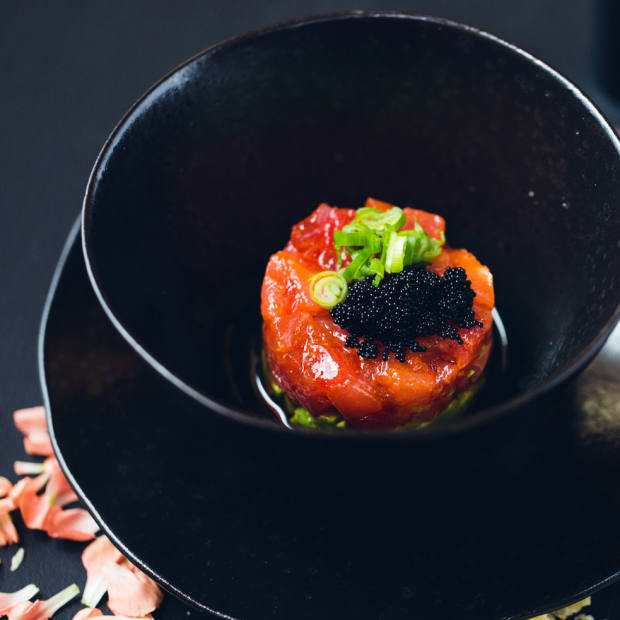 Dohyo – a spicy tuna tartare with avocado, cucumber and wasabi oil – is one of the dishes served at Ozumo