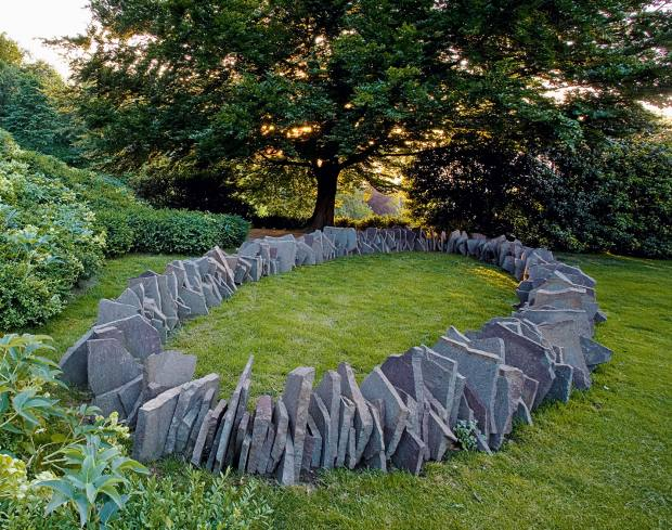 Porfido Ellipse by Richard Long in the garden of Marcoand Franca Brignone