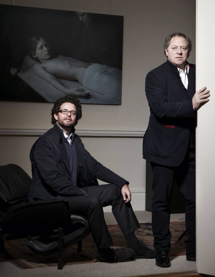 Javier Macaya (left) and Michael Hoppen at the Michael Hoppen Gallery, London, with Xteriors VIII by Desiree Dolron