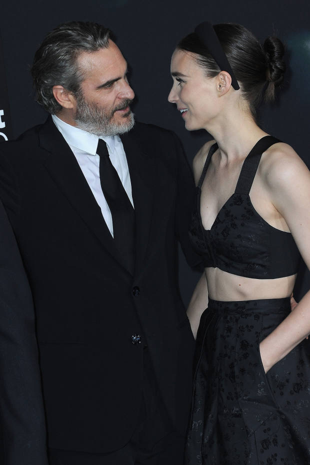 Rooney Mara with her fiancé, Joaquin Phoenix, at the Joker premiere in LA, wearing a Hiraeth bra top and skirt, from DSM in LA, New York and Singapore