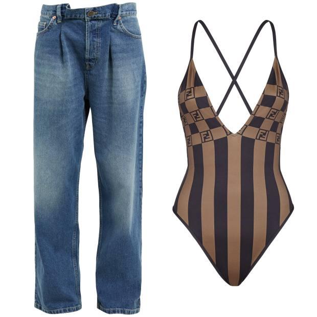 Raey fold boyfriend jeans, £140, from matchesfashion.com. Fendi swimsuit, £390