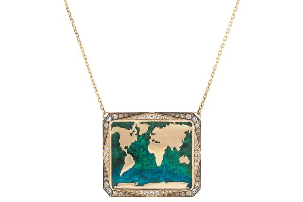 Each necklace in jewellery brand Venyx's new collection features a map of the world