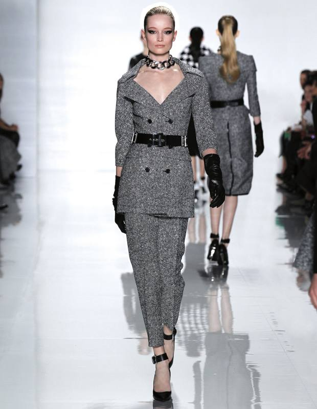 Tweed Jacquard jacket, £1,165, matching trousers, £505, leather belt, £435, metal Curb Chain choker, £280, leather gloves, £460, and Ayah Runway shoes, £395. All Michael Kors autumn/winter 2013