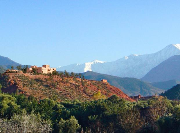 The Kasbah Bab Ourika looks out onto the Atlas Mountains.