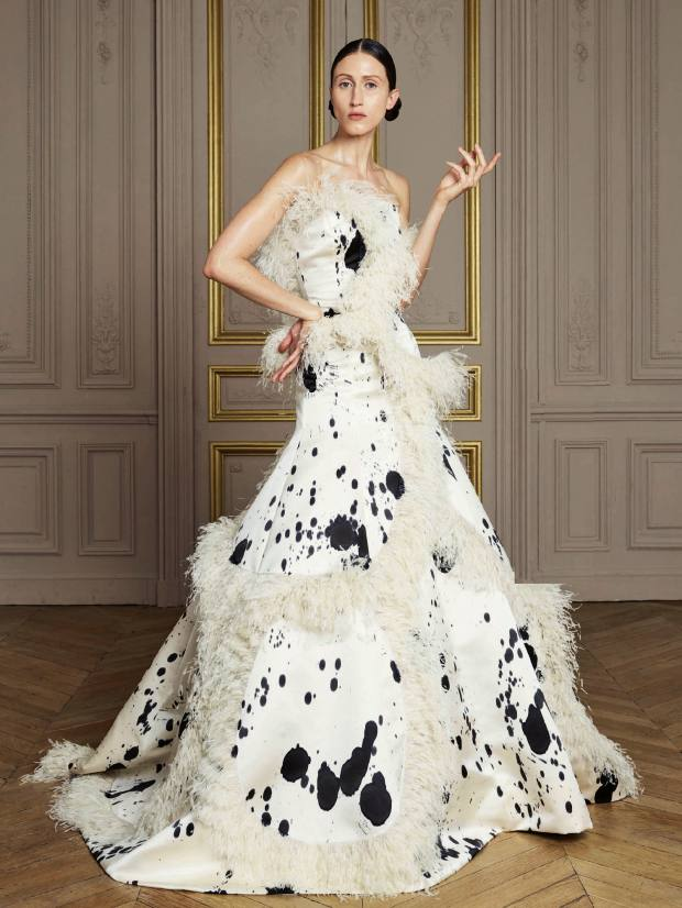 Giles Deacon duchess silk and ostrich feather dress, price on request
