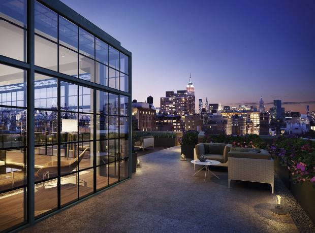 Rendering of a Penthouse terrace at The Puck Building, price range approximately $20m - $50