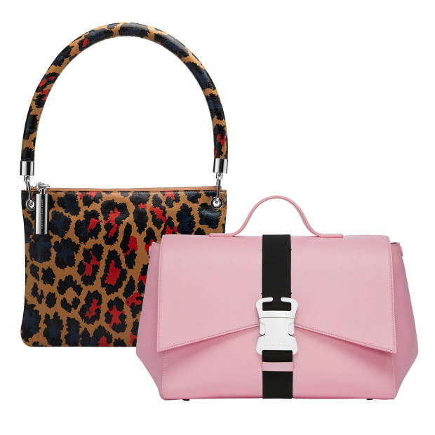 From left: leather shoulder bag, £550, from Matchesfashion.com, and leather safety-buckle satchel, £1,400, from Harvey Nichols