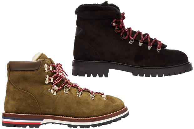 From left: Moncler shearling-lined suede Blanche ankle boots, £515 (in white, £470 at Net-a-Porter). Valentino Garavani suede Rockstud hiking boots (£955)