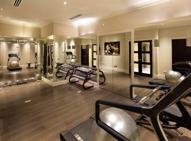 The well-equipped gym of the new-build in Highgate, London