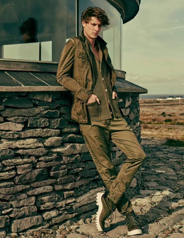 Bottega Veneta cotton poplin jacket, £1,065, and matching trousers, £335. Inis Meáin linen Donegal cardigan, about £300. Antonio Marras calfskin boots, about £450