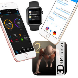 Clockwise from far left: Garmin, which Alberta Ferretti uses when running; 1Password, a favourite of Pilar Corrias; iTranslate, which Clare Waight Keller rates for its accuracy; and iMuscle2, a fitness app used by Pierre Hardy