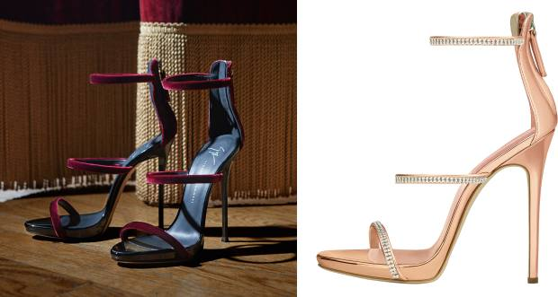 Giuseppe Zanotti Harmony Velvet sandals, £570, and patent-leather and diamanté Harmony Sparkle sandals, £755