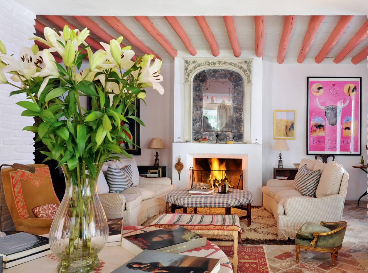 The lounge at Casa Santa Maria in the village of Carmona, Andalucia