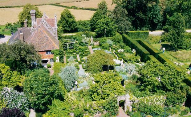 Vita Sackville-West's White Garden at Sissinghurst Castle in Kent