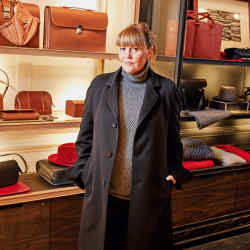 Isabel Ettedgui in the new Connolly store on Clifford Street, wearing Connolly cashmere raglan coat, £2,500, cashmere jumper, £610, and wool stretch trousers, £395